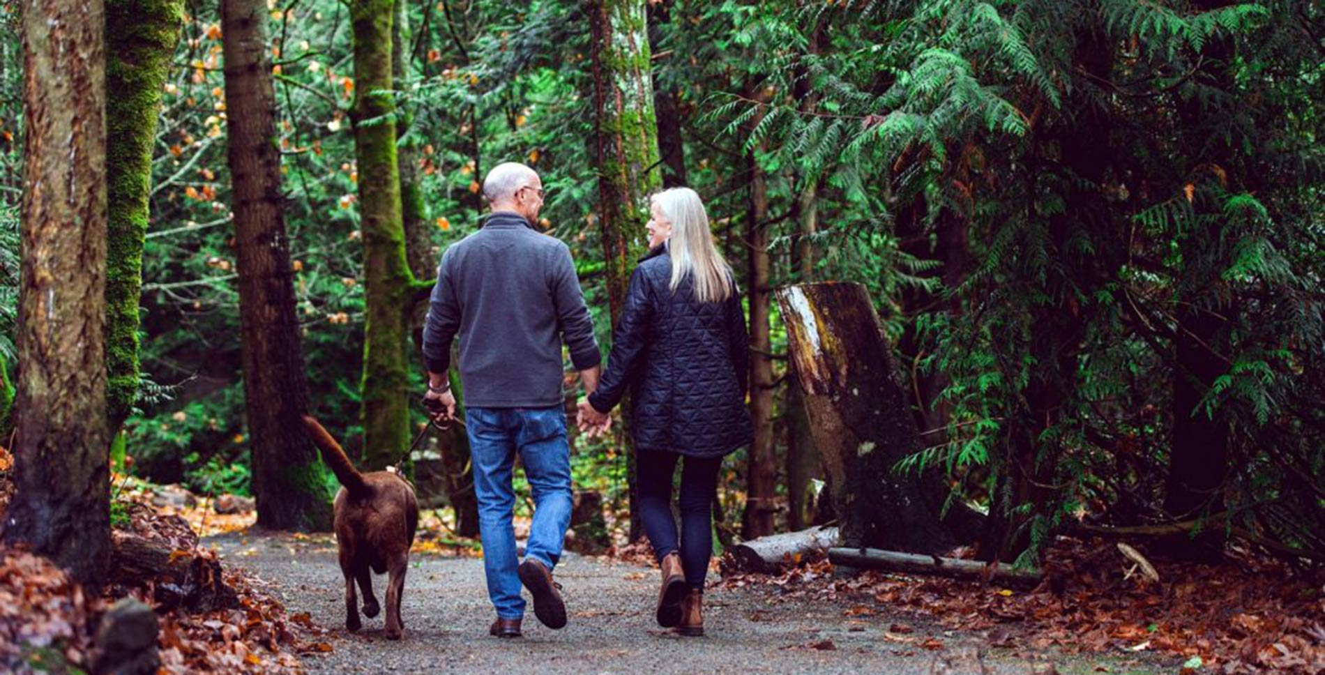 Older couple walking in the woods with their dog